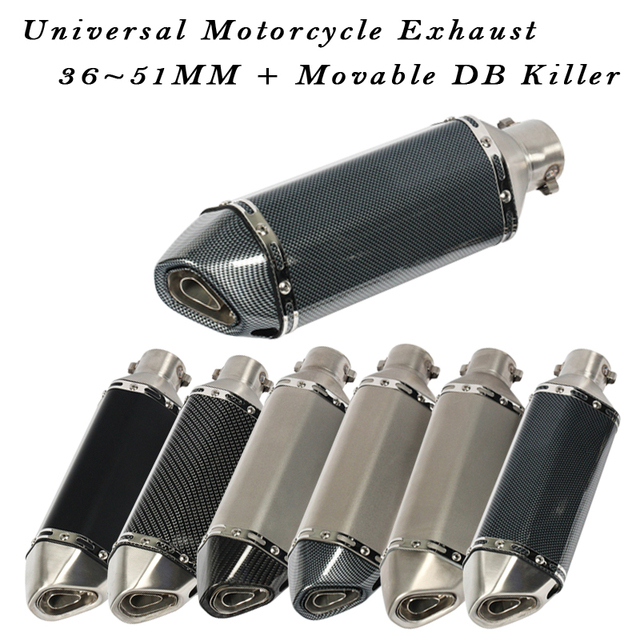 Universal escape da motocicleta moto silenciador comprimento 370mm móvel db assassino 51mm para z900 fz6n cbr250 mt07 r6 sujeira pit bike