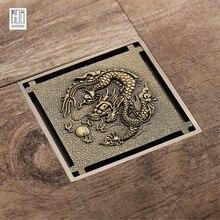 HIDEEP античный бронзовый дракон узор резной арт слив ванная комната отходов решетки Невидимый Серебряный решетка для душа трап