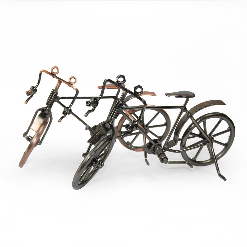Retro Bicycle Model Metal Crafts Child Birthday Toy Gift Bicycle Figurine Home Office Decoration