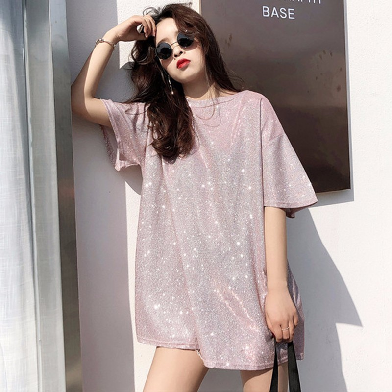 MUXU Fashion Short Sleeve glitter top black t shirt lace top streetwear summer clothes for korean style purple pink women tops