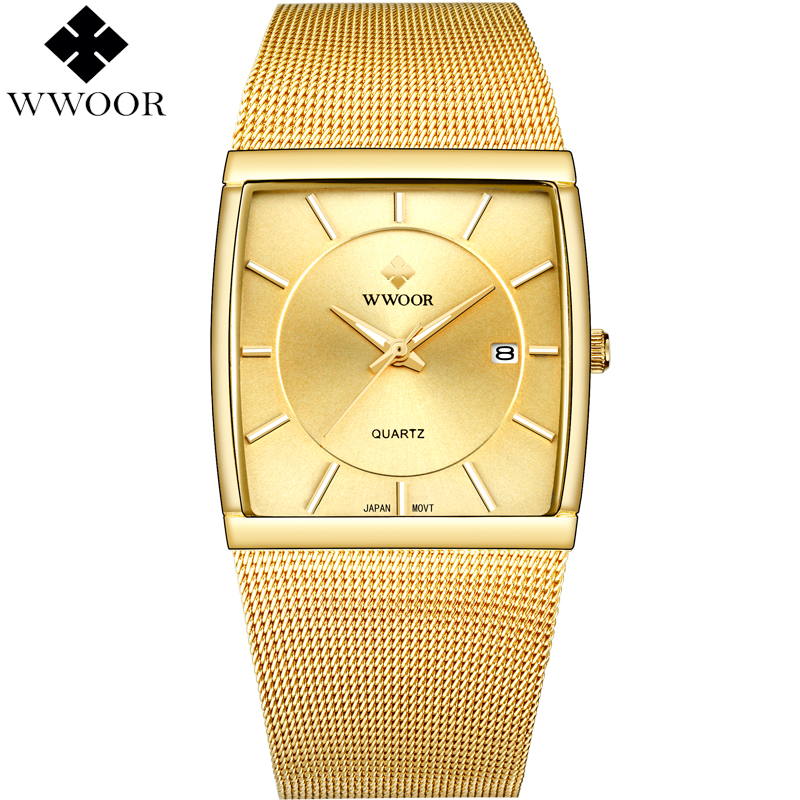WWOOR Brand Luxury Men's Watch Square Waterproof Gold Stainless Steel Sport Men Quartz Watch Male Analog Clock relogio masculino цена и фото