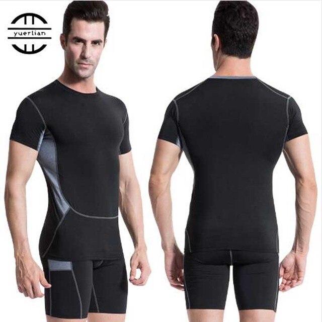 Yuerlian negro compresión aptitud medias corriendo rápido seco gimnasio ropa  deportiva camiseta pantalones cortos chándal conjuntos 5b18be3e5c5e