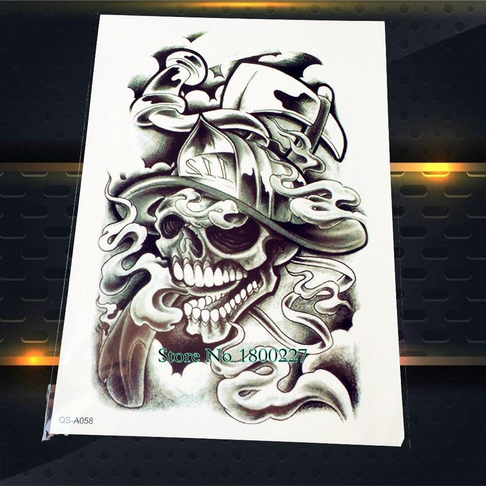 1PC Fashion Death Skull 3D Waterproof Temporary Tattoo Men PQS-A058 Sexy Women Tattoo Sleeve Body Art Arm Punk Design Tattoo