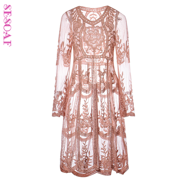 Sesoaf Maxi Casual Women Pink Spring Summer Lace Midi Dress Long Sleeve Y See Through Fl