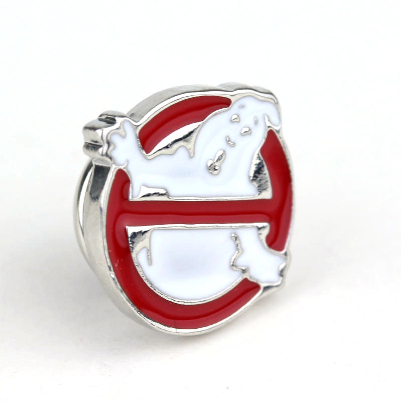 Movie Jewelry Ghostbusters Logo Red Enamel Metal Pin Brooch Clothing Accessory ...