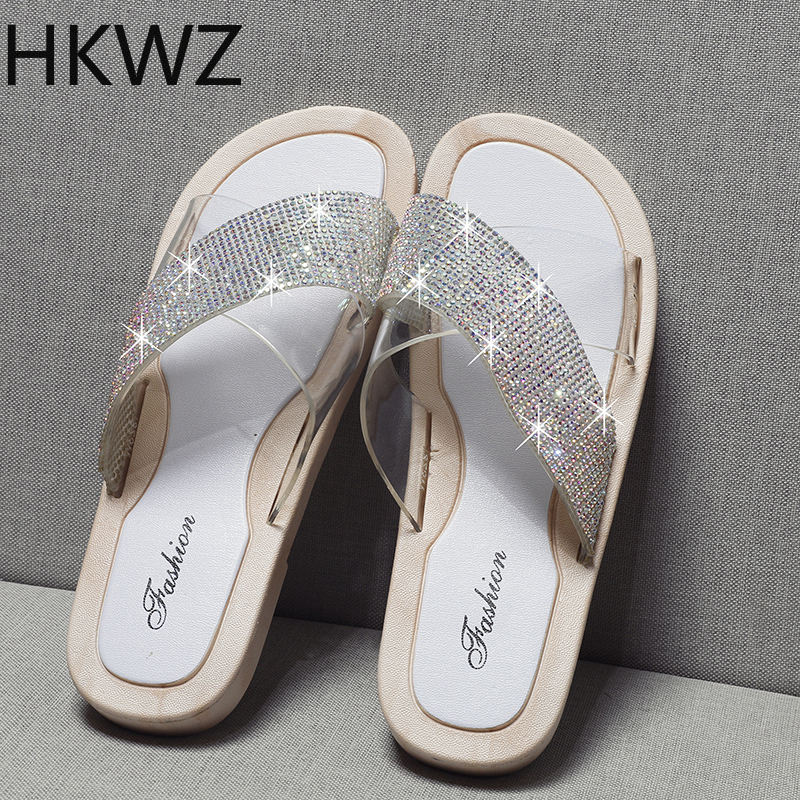 019 Summer New Joker Simple Cross Rhinestone One line Flat Slippers Women Wear Comfortable Non slip Sandals Size 36 40 H0202 in Slippers from Shoes