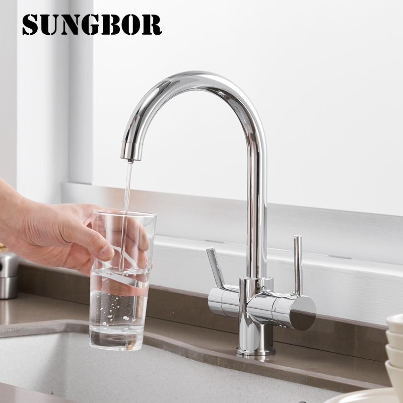360 Degree Rotation Chrome Kitchen Faucets 3 Way Water Filter Tap Water Faucets Solid Brass Kitchen Sink Tap Water Mixer CF-0181