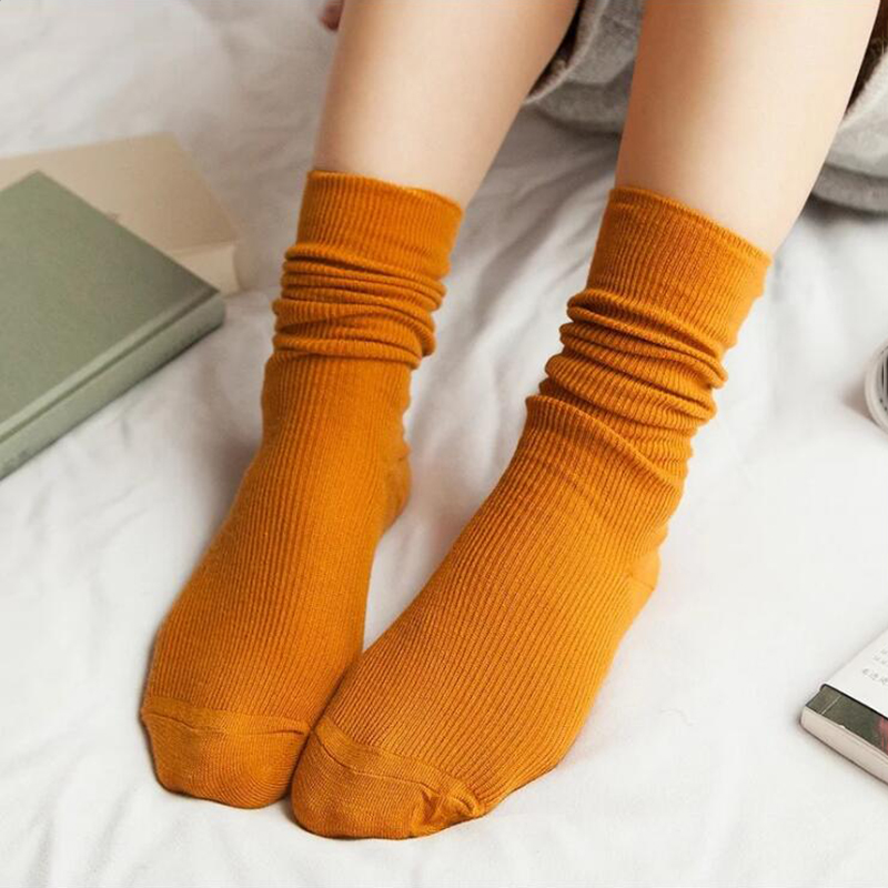 New Autumn Solid Socks For Women Knitted Stretchy Orange Sokken Female Cotton Casual Calcetines Mujer Girls Green Sock Meias QMH