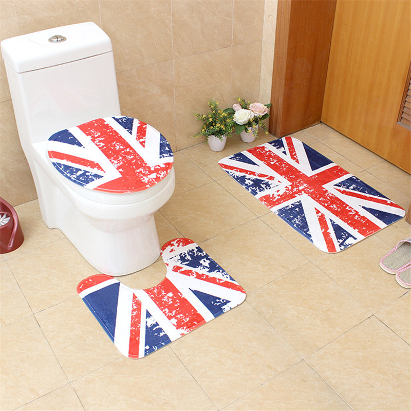 3Pcs/set Retro European Style Bath Toilet Mat Non-Slip Bathroom Carpet HD Printing and Dyeing Flannel Mats