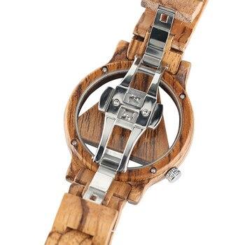Ű�説カジュアル流行のギフトプッシュボタン隠しクラスプ竹腕時計クォーツ自然木材女性中空ハンドメイドバングル男性