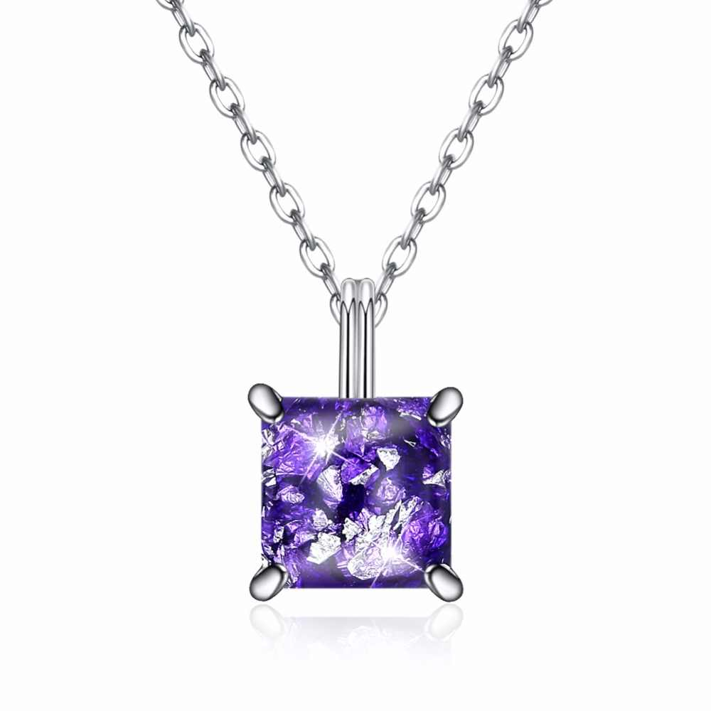 Crown Square Pendant Necklace Natural Teardrop Amethyst 925 Sterling Silver Jewelry Rose Gold Color s925 Charm Chain Necklace
