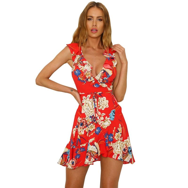 Sexy deep V neck Sleeveless summer dress Women floral print bohemian maxi dress Hollow out irregular mini dress vestidos