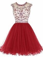 Echt 2016 Sexy Open Back Red A-line Kurze Heimkehr Kleider Sleeveless Prickelnde Perlen Backless Mädchen Prom Cocktailkleider