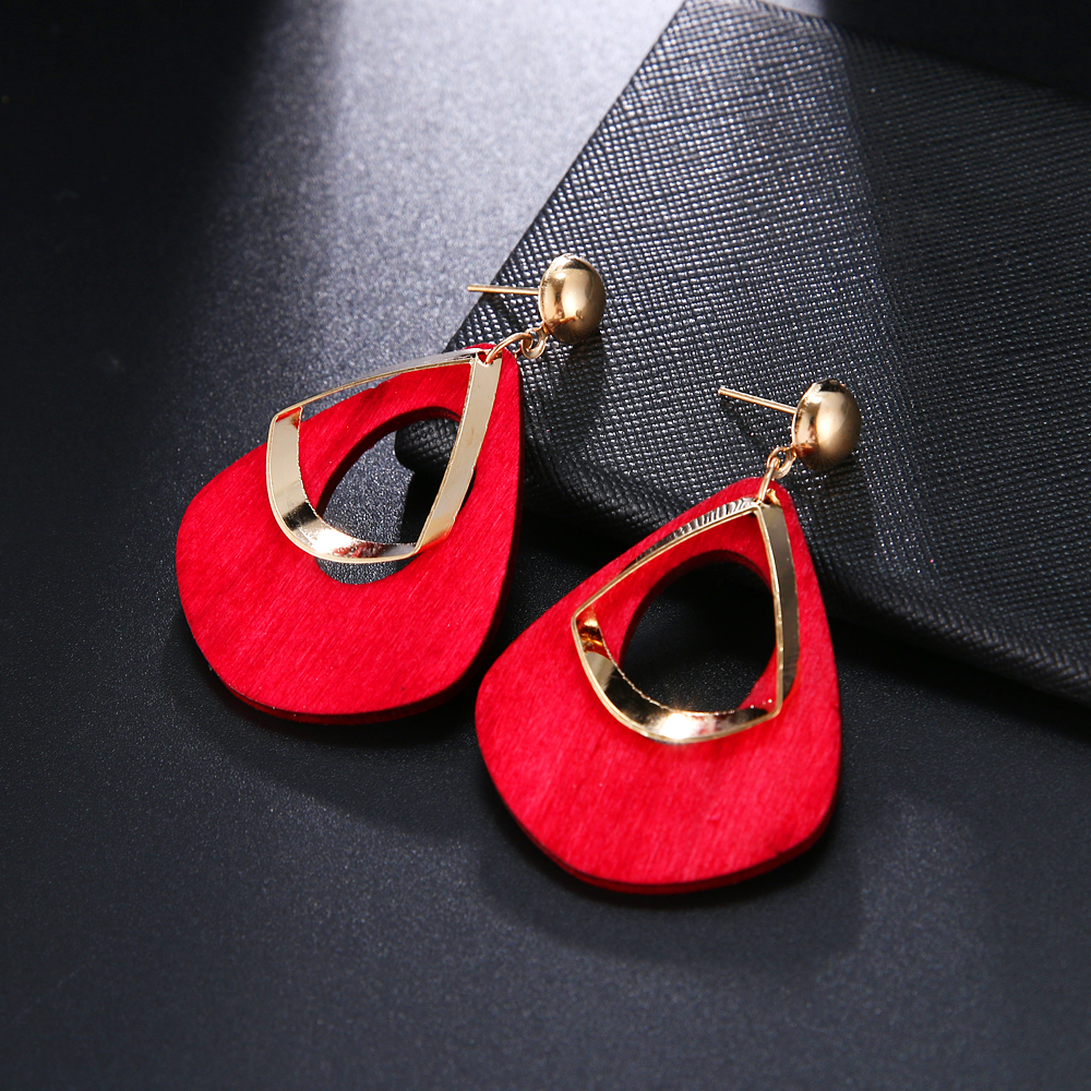 HTB1dbs1T9zqK1RjSZPcq6zTepXaJ - Trendy Party Jewelry Vintage 2019 Women's Fashion Statement Earring Red  Brown Black Color Long Wooden Brincos Wedding Gift