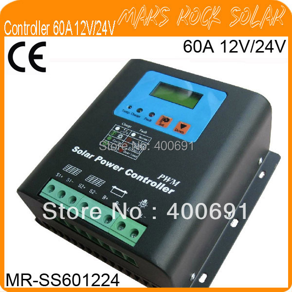 60A 12V/24V PWM Solar Charge Controller with Metal Shell, LED&LCD Display, Auto-Identification voltage, Temperature Compensate
