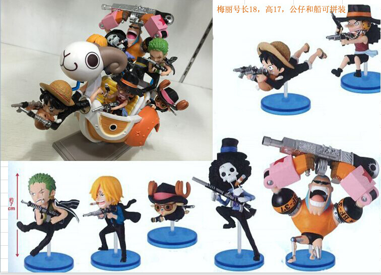 ФОТО New arrival 1pcs one piece 105 generation Going Merry boat with Luffy Zoro Franky Sanji Brook for assembly action pvc figure toy