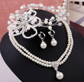 2015 Fashion design bridal tiara necklace sets pearl wedding jewelry sets for brides necklace earrings accessories high quality
