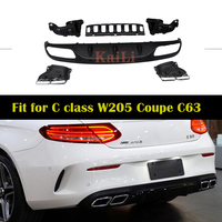 W205 AMG Style Rear Bumper Diffuser Lip for Benz A205 C205 with AMG Package 2015 + Coupe Cabriolet C180 C250 C300 C350