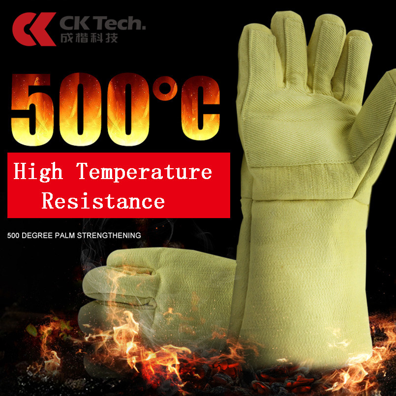 CK Tech. 500℃ Heat Insulation Gloves 38cm Protection Flame Retardant Fire Proof Work Gloves Oven Baking Anti-scald Safety Glove