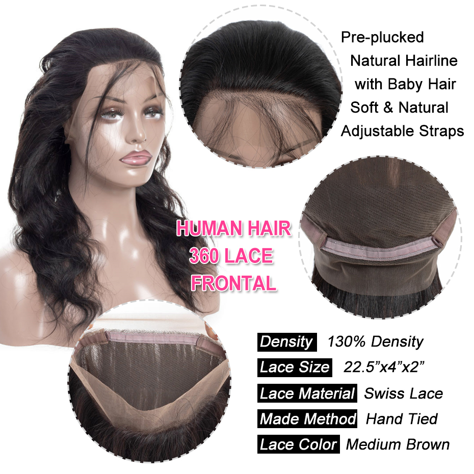 Image 4 - Gabrielle 360 Lace Frontal with Bundles Brazilian Human Hair Body Wave Bundles with Frontal Closure 100% Remy Hair Weaving-in 3/4 Bundles with Closure from Hair Extensions & Wigs