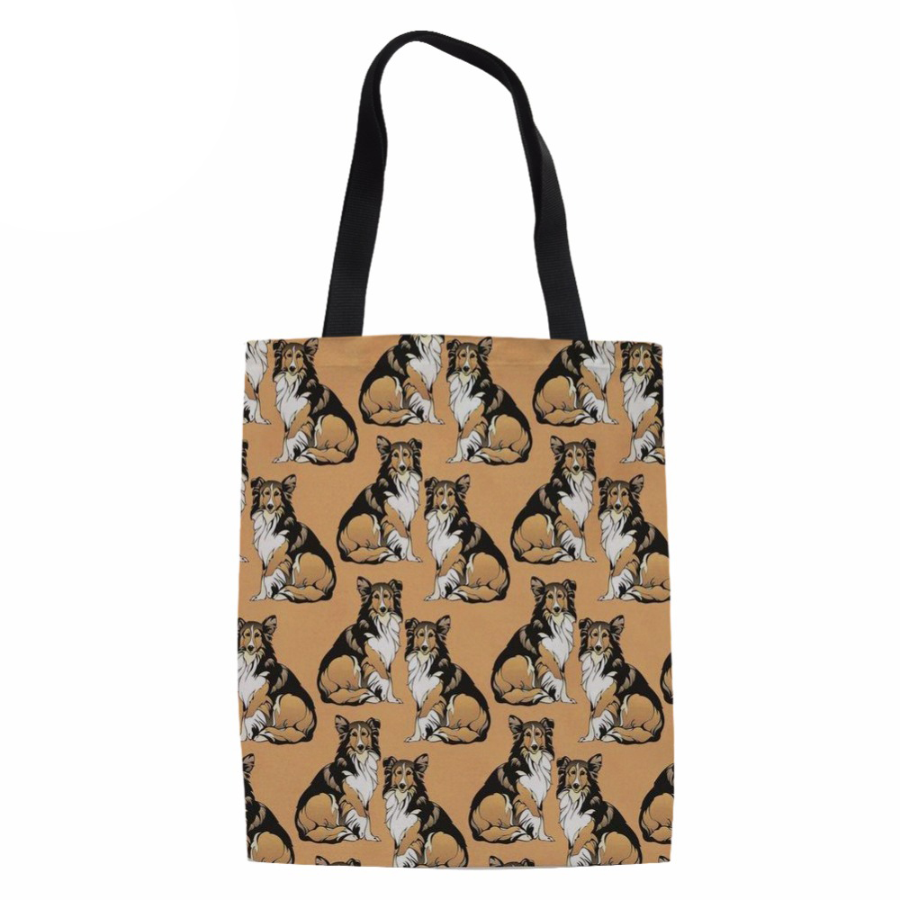 Noisydesigns Travel Handbags Tote Casual Beach Bags Large Foldable 3D COLLIE Grocery Bags Reusable Supermarket Shopping Bag