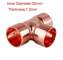 5PCS/LOT Inner D:32mm Thickness:1.2mm  Copper Welding T-Shaped Tee Pipe Refrigeration Accessories