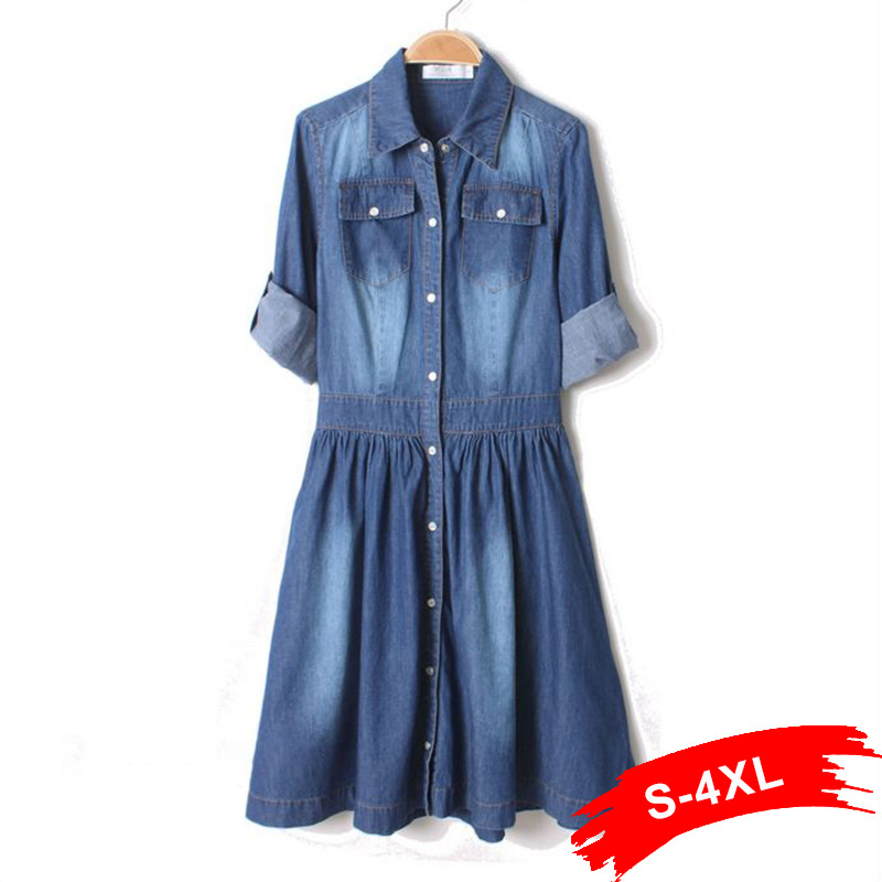 summer autumn plus size 2017 long sleeve denim dress knee length blue jean casual dress dames. Black Bedroom Furniture Sets. Home Design Ideas