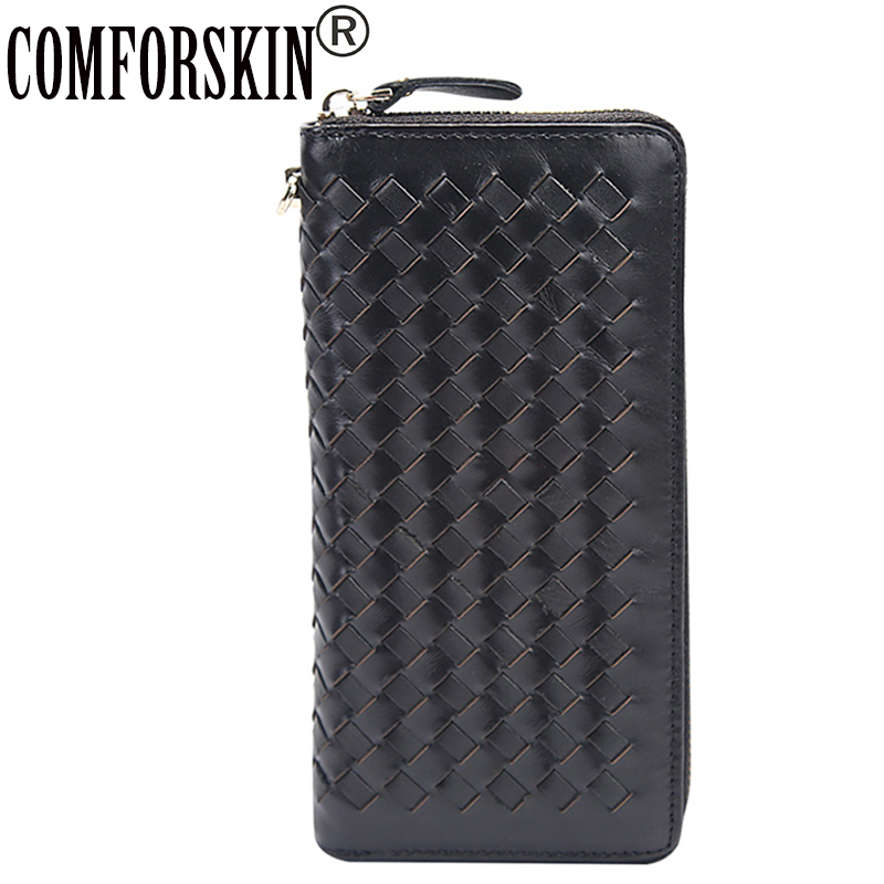 COMFORSKIN Brand Vintage Hand-made Knitting Men Wallets Large Capacity 2018 Cowhide Leather Long Business Clutch