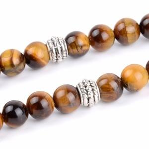 Image 3 - 8mm Classic Men Natural Tiger Eye Beaded Bracelet 33 Prayer Beads Muslim Tasbih Allah Mohammed Rosary Handmade Jewelry Gifts