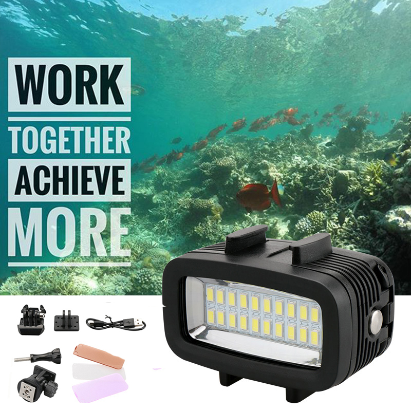 40m Underwater LED Video Light For Gopro Waterproof Diving Lamp Super Bright Accessories for GOPRO SJCAM Sports Action Camera mcoplus le 160y 25m 82ft 5500k 2000lm diving underwater waterproof video led light for digital camera gopro hero camera