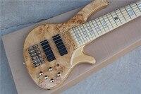 Бесплатная Доставка винтажная бас гитара с золотой фурнитурой EMG 6 струн из натурального дерева цвет активная электрическая бас гитара