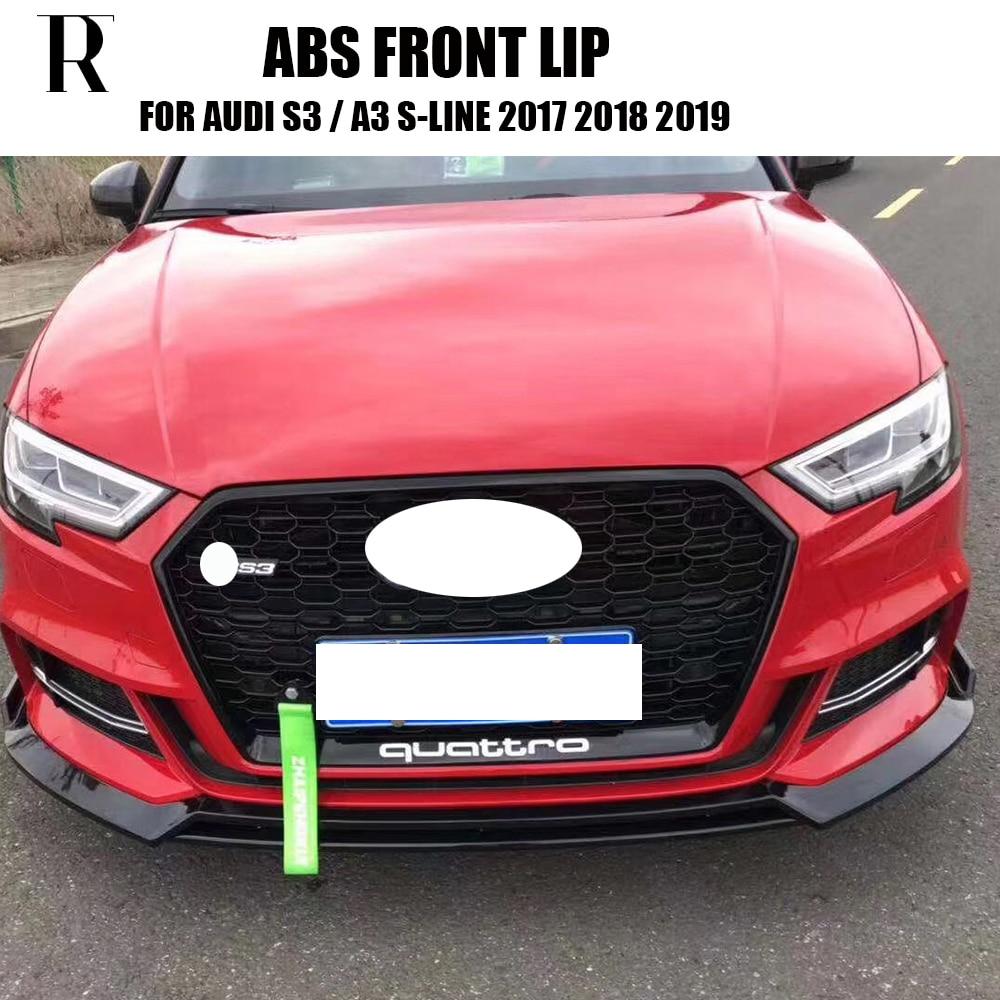 Audi RS7 Front RS Bumper Black Gloss Valance Spoiler Lip Cup Splitter 3 pcs