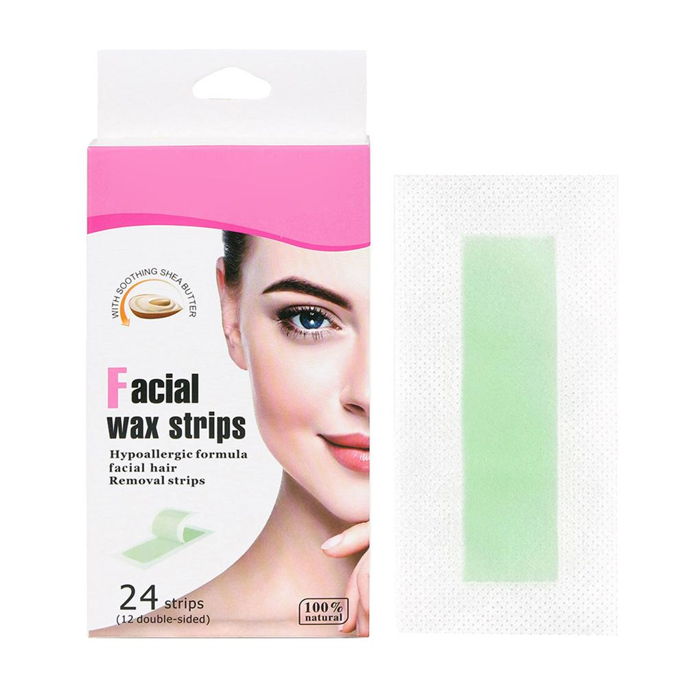 24Pcs Hair Removal Wax Strip Waxing Wipe Sticker For Face Leg Lip Eyebrow