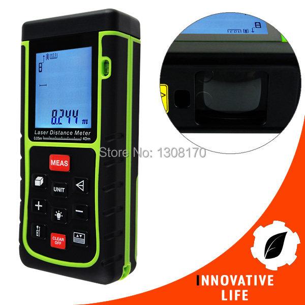 40m (131ft) Range Digital Laser Distance Area Volume Pythagorean w/ Spirit Level Construction Use Measurer Finder Tool laser range finder 40m 60m 80m 100m digital laser distance meter tape area volume angle engineer measure construction tools