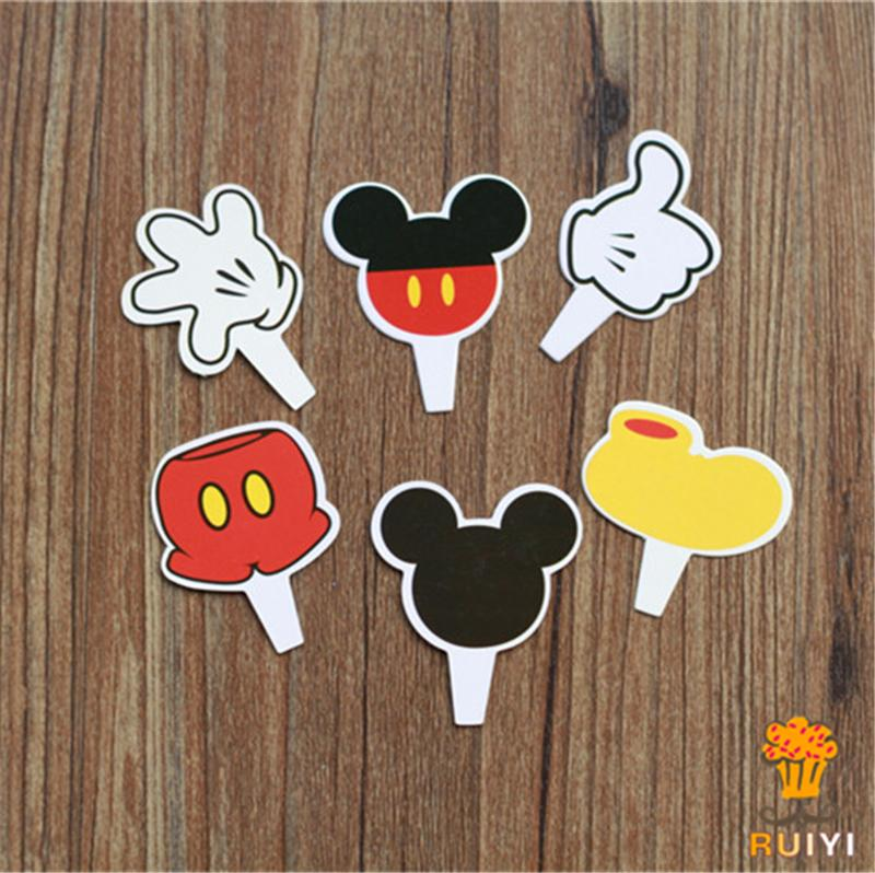 60pcs mickey mouse candy bar cupcake toppers picks decoration baby shower kids birthday party supplies AW-0405