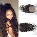 4 x 4 seda Base Closure onda de agua indio del pelo humano nudos blanqueados 8A virgen del indio del pelo productos para el cabello Rosa