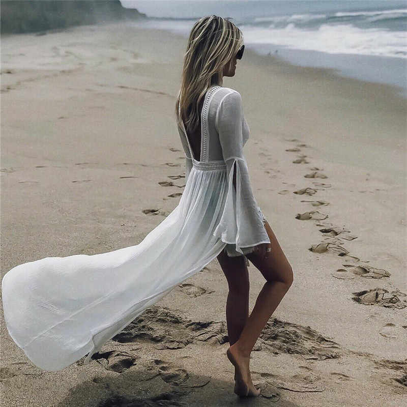 2019 White  Backless  Beach Cover up Sarong Bathing Suit Hollow Cover ups Beach Pareo Swimsuit Cover up Womens Swim Beach Tunic