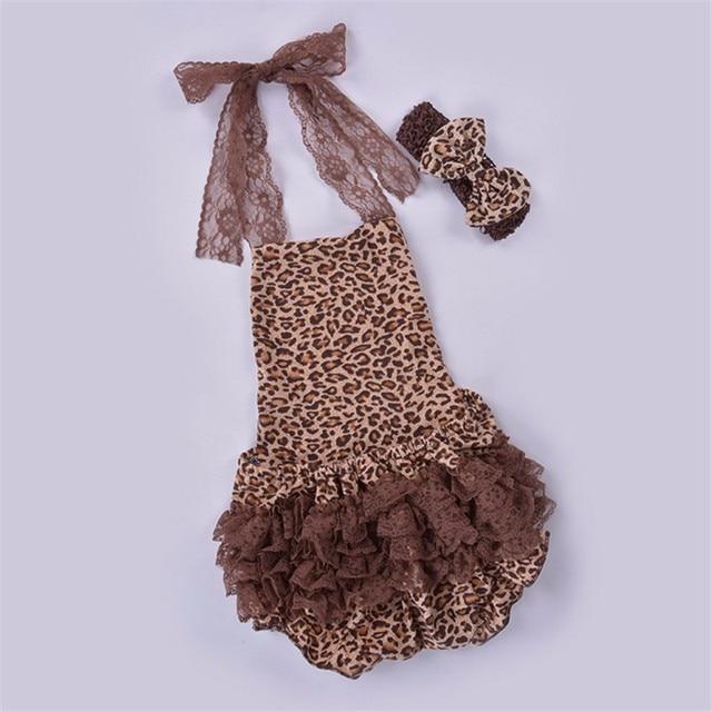 Ребенков оборками платье леопарда кружева повод и спинки детская дети летняя одежда одежда