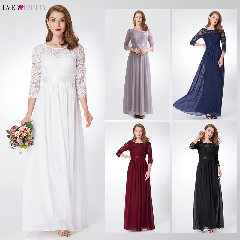 Image 5 - Elegant Lace Bridesmaid Dresses Ever Pretty EP07412 A Line O Neck 3/4 Sleeve Sexy Wedding Guest Dresses Vestido De Festa Longo-in Bridesmaid Dresses from Weddings & Events