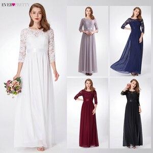 Image 2 - Elegant Lace Bridesmaid Dresses Ever Pretty EP07412 A Line O Neck 3/4 Sleeve Sexy Wedding Guest Dresses Vestido De Festa Longo