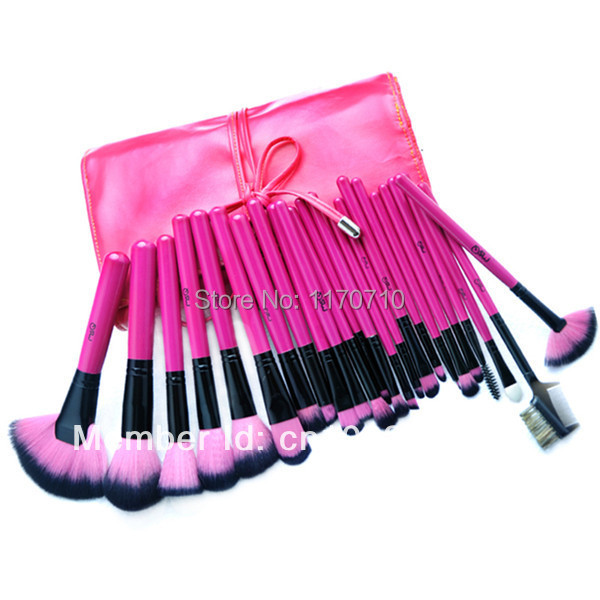 FREE SHIPPING! Best Quality Goat Hair Professional Makeup Brush Set 24PCS/Set Including a Deluxe Leather Bag! best new product on sale 30% 750ml brazilian keratin hair treatment hair free shipping
