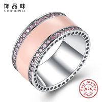 Shipinwei Authentic 925 Sterling Silver Hearts Of Ring Soft Pink Enamel Clear CZ Rings Micro For