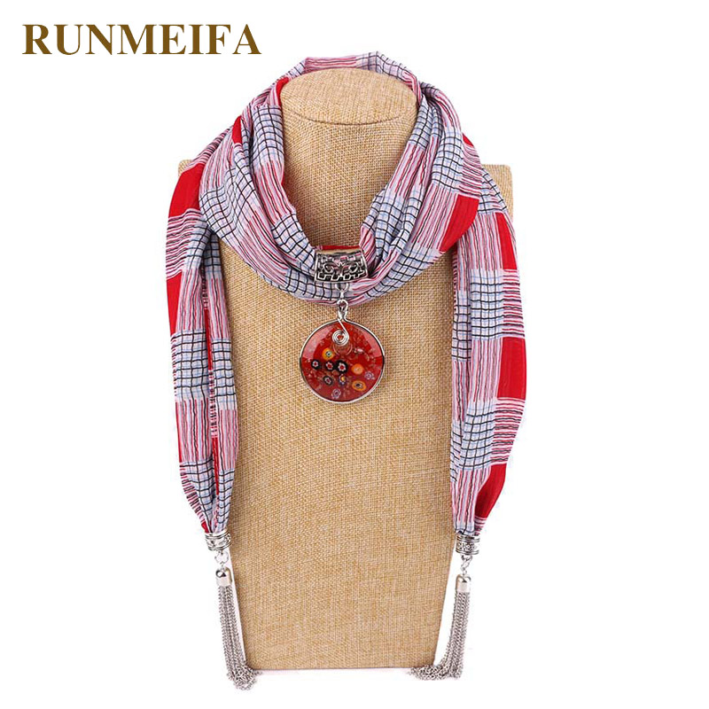 RUNMEIFA New Pendant Scarf Necklace Bohemian Necklaces For Women Chiffon Scarves Pendant Jewelry Wrap Foulard Female Accessories