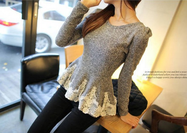 Free shipping lace decoration slim long sleeve t shirt For Spring bottoming shirt tops for women 2013 size M L