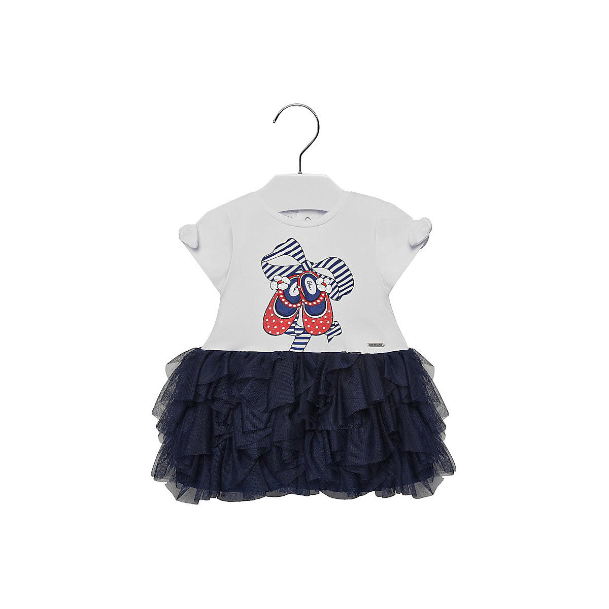 MAYORAL Dresses 10678690 Girl Children fitted pleated skirt Blue Cotton Casual Print Knee-Length Short Sleeve girl print drawstring top