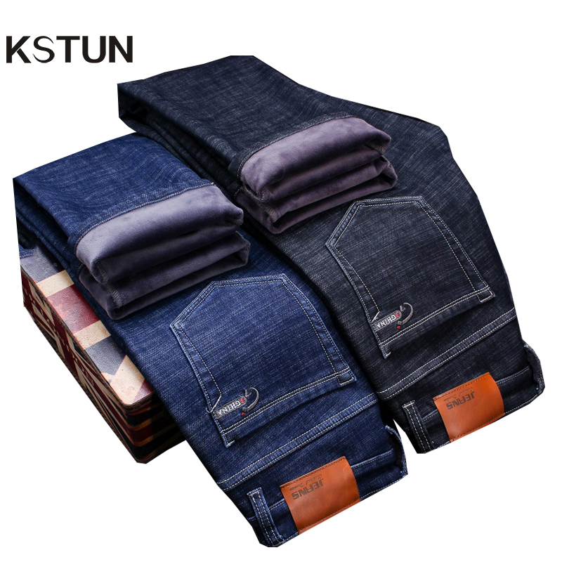 KSTUN Jeans Men Winter Black Classic Business Casual Slim Straight Thicken Fleece Stretchy Warmer Jeans High Waist Plus Size 38