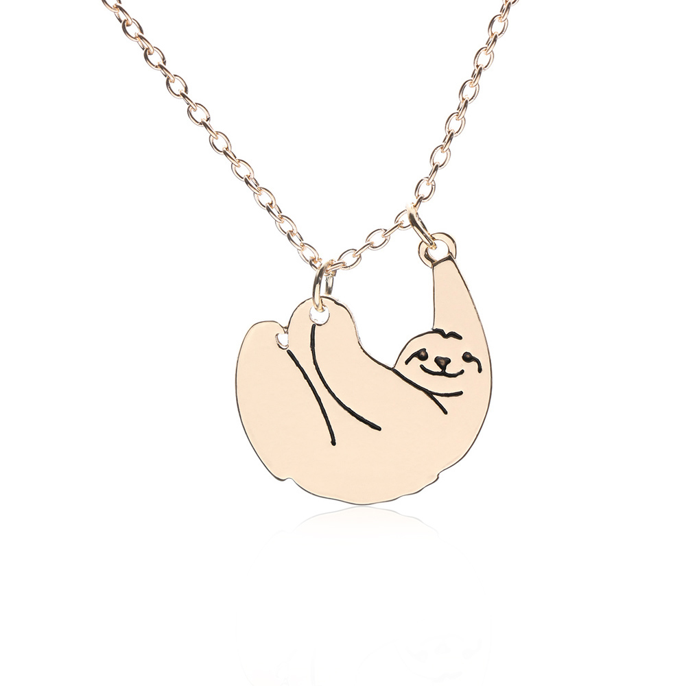 Women Chain Charm Animal Necklace Sloth Bear Silver Color Gold Color