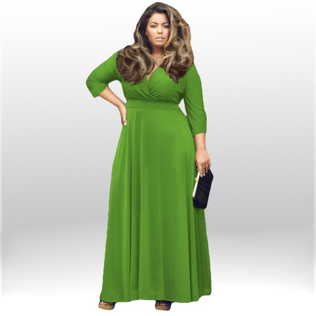 db63fc90fa4 High Quality 2018 New Fashion Women Clothing Fat People Long Sleeved  Vintage Dress Plus Size Ladies Loose Dresses Big Size Maxi
