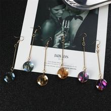 Japan Korean Simple Solid Crystal Ball Fresh Geometric Woman Girls Dangle Drop Earrings Fashion Jewelry-LAF