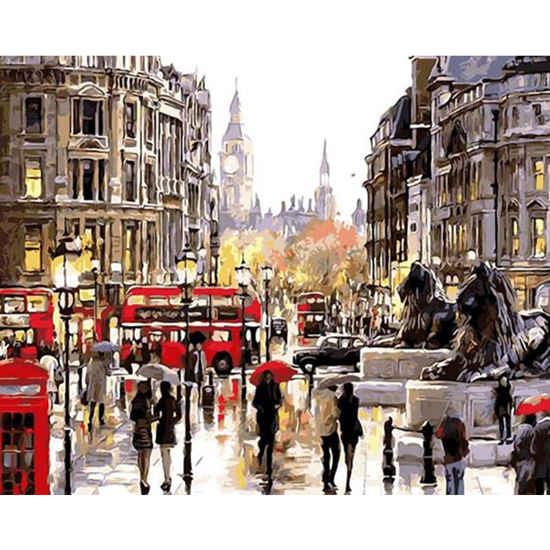 Painting By Numbers DIY Dropshipping 50x65 60x75cm Paris Street Stone Lion Landscape Canvas Wedding Decoration Art Picture Gift